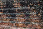 Antique Ancient Old Dirty Red Brick Wall On The Urban Street. Old Dirty Red Brick Wall Pattern Backg poster