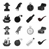 Pirate, Bandit, Ship, Sail .pirates Set Collection Icons In Black, Monochrome Style Vector Symbol St poster