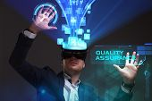 Business, Technology, Internet And Network Concept. Young Businessman Working In Virtual Reality Gla poster