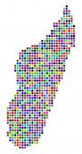 Постер, плакат: Multi Colored Dot Madagascar Island Map Vector Concept Of Madagascar Island Map Designed Of Square