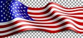Long American Flag On Transparent Background. Flag For Patriotic Holidays. Labor Day, Independence D poster