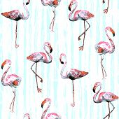 Flamingo Pattern. Tropical Summer Red Blue Print. Exotic Spring Textile Background With Birds. Fashi poster