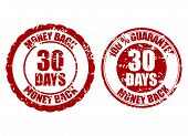 Money Back Guarantee 30 Days Rubber Stamp. Vector Thirty Days Stamp Guarantee, Warranty Money Illust poster