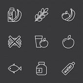 Thin Line Fitness Nutrition, Low-calorie Food Icons Set On Dark Background poster