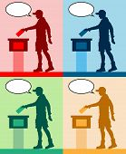 Young Man Voter Silhouettes With Different Colored Speech Bubble By Voting For Election. All The Sil poster