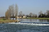 picture of foreshortening  - foreshortening of important artificial canal in winter country  - JPG