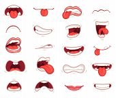 Funny Mouths. Facial Expressions, Cartoon Lips And Tongues. Hand Drawing Caricature Comic Artistic C poster