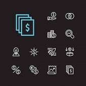 Economy Icons Set. Exchange And Economy Icons With Dividend, Market Research And Assets. Set Of Depo poster