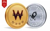 Stellar. Won. 3d Isometric Physical Coins. Digital Currency. Korea Won Coin. Cryptocurrency. Golden  poster