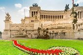 Roma, Italy - April 17, 2018: Altare Della Patria And Monument To Vittorio Emanuele Ii On Piazza Ven poster