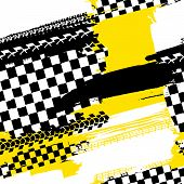 Motorcycle And Motor Tire Tracks Seamless Pattern. Grunge Automotive Addon Useful For Poster, Print, poster