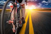Cyclist on bike path, view from the rear wheel poster