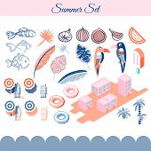 Summer Holidays Vector Clip Art Objects. Pink And Blue Beach Vacation Objects. poster