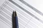 Purchase Order. Macro Photo Of Purchase Order With Pen. Close Up Purchase Order With Blue Pen In The poster