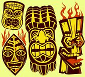 foto of tiki  - Collection of four different types of tiki masks - JPG