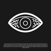 Black Reddish Eye Due To Viral, Bacterial Or Allergic Conjunctivitis Icon Isolated On Black Backgrou poster