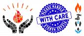 Mosaic Fire Care Hands Icon And Rubber Stamp Seal With Please Handle With Care Caption. Mosaic Vecto poster