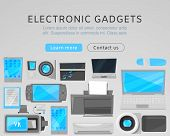 Electronic Gadgets Sale Web Vector Template With Modern Devices. Computers, Printer, Vr Device And T poster