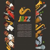Jazz Festival Or Party With Cartoon Characters Singer, Saxophonist And Double-bass Player And Musica poster