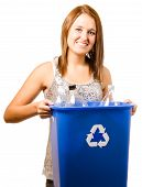 pic of take responsibility  - Smiling happy teenage girl taking out recycling isolated on white - JPG