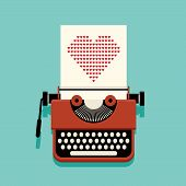 Happy Valentine's Day Concept Decorative With Typewriter And Paper Of Heart poster
