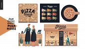 Pizza House -small Business Graphics -owners And Facade. Modern Flat Vector Concept Illustrations -  poster