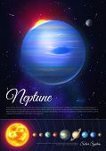 Neptune Ice Giant Planet Colorful Poster With Solar System. Galaxy Discovery And Exploration. Realis poster