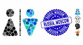 Mosaic Wc Persons Icon And Rubber Stamp Watermark With Russia, Moscow Phrase. Mosaic Vector Is Forme poster