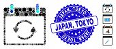 Mosaic Refresh Calendar Day Icon And Grunge Stamp Seal With Japan, Tokyo Caption. Mosaic Vector Is D poster