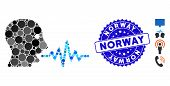 Mosaic Talking User Signal Icon And Corroded Stamp Seal With Norway Caption. Mosaic Vector Is Formed poster