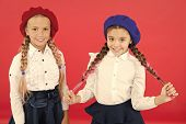 Learning French. Happy Children In Uniform. Friendship And Sisterhood. Best Friends. Little Girls In poster