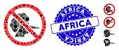 Mosaic No Faker Icon And Rubber Stamp Seal With Africa Caption. Mosaic Vector Is Created With No Fak poster