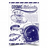 Cosmic Music Relax Time Advertising Poster Vector. Special Cosmic Suit For Exploring Galaxy, Ufo And poster