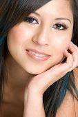 picture of beautiful woman face  - beautiful young mexican lady smiling for camera - JPG