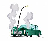 Accident On Road. Car Encountered An Lantern. Illustration Of Crash Vehicle, Damage Auto. Insurance  poster