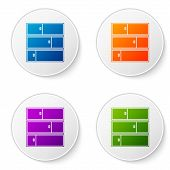 Color Shelf Icon Isolated On White Background. Shelves Sign. Set Icons In Circle Buttons. Vector Ill poster