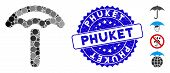 Mosaic Umbrella Icon And Corroded Stamp Watermark With Phuket Phrase. Mosaic Vector Is Created With  poster