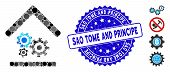 Mosaic Workshop Icon And Rubber Stamp Seal With Sao Tome And Principe Phrase. Mosaic Vector Is Compo poster