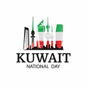 Vector Illustration On The Theme National Day Kuwait. National Landmarks Kuwait In Flag Colors. poster