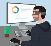 Hacker Attack Vector Illustartion. Hacker Working On A Code. Hacker Writes Viruses And Hacks A Compu poster
