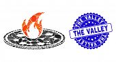 Mosaic Hot Pizza Icon And Grunge Stamp Seal With The Valley Text. Mosaic Vector Is Composed With Hot poster