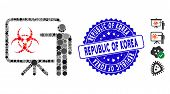 Mosaic Virus Presentation Board Icon And Rubber Stamp Seal With Republic Of Korea Phrase. Mosaic Vec poster