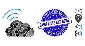 Mosaic Wi-fi Cloud Icon And Grunge Stamp Seal With Saint Kitts And Nevis Phrase. Mosaic Vector Is Co poster