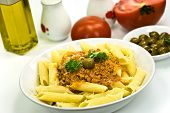 Spaghetti Bolognese With Parmesan Cheese And Olives poster