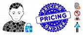 Mosaic User Locked Icon And Grunge Stamp Seal With Pricing Text. Mosaic Vector Is Composed From User poster