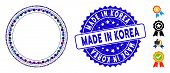 Mosaic Round Rosette Seal Icon And Rubber Stamp Seal With Made In Korea Phrase. Mosaic Vector Is Com poster