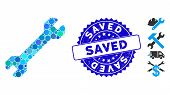 Mosaic Wrench Icon And Grunge Stamp Seal With Saved Caption. Mosaic Vector Is Composed From Wrench I poster