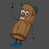 Log With A Face. Vector Illustration Of A Cartoon Log With A Funny Face. Hand Drawn Tree With A Face poster