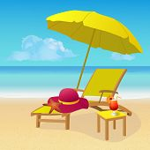 Chaise Lounge With Umbrella On Idyllic Tropical Sandy Beach. Seaside Landscape Background. Summer Ho poster