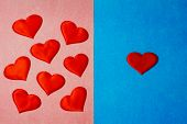 Many Hearts In Pink Color Side And One Heart In Blue Color Side Background. Copy Space, Many Women O poster